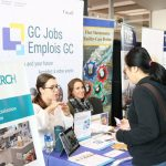 student talking to employer
